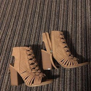 DV ladies tan peep toe suede lace heels